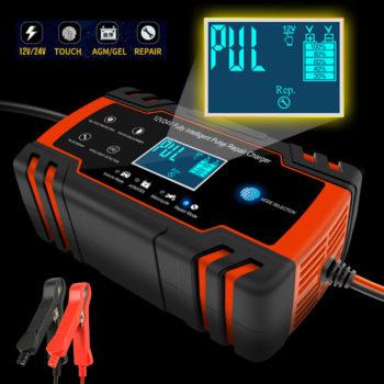 Cargador de bater/ía de coche 12//24V Completamente autom/ático Reparaci/ón inteligente de pulso Carga autom/ática de protecci/ón r/ápida Material de metal ABS